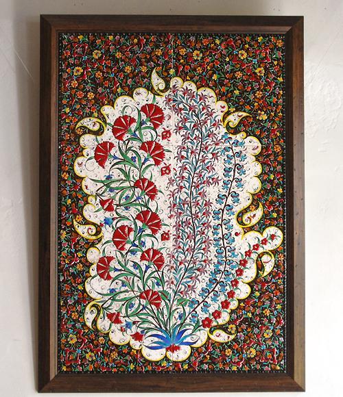 トルコ陶器・手書きタイルのパネル6枚額 生命の樹