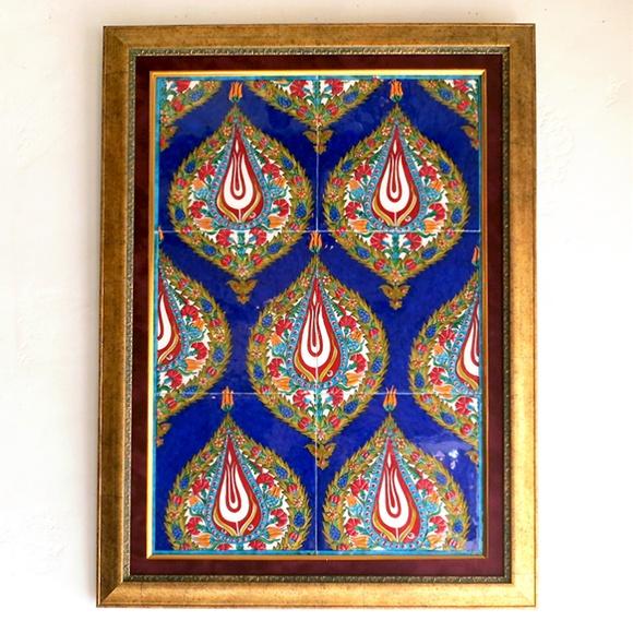 トルコ伝統柄・手書きタイル6枚パネル額装コバルトブルー/アーモンド形の紋章・チューリップ