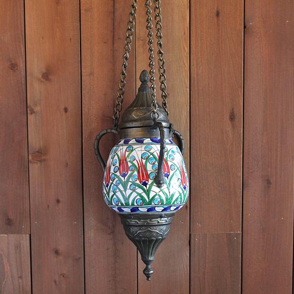 キュターヤ陶器/銅製 ランプ型 29.5cm