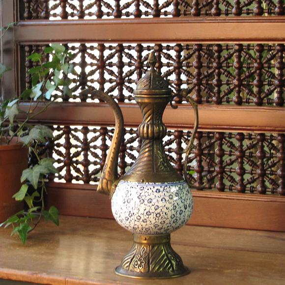 キュターヤ陶器/銅製 スルタンの水差しブルーフラワー 30cm