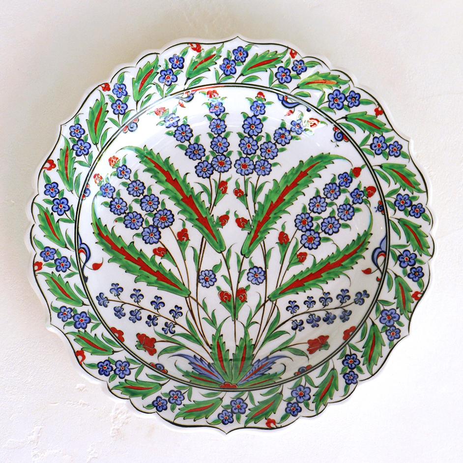 トルコ・手書き絵皿 キュタフヤ陶器 プレート30cmヒヤシンスとグリーンリーフ