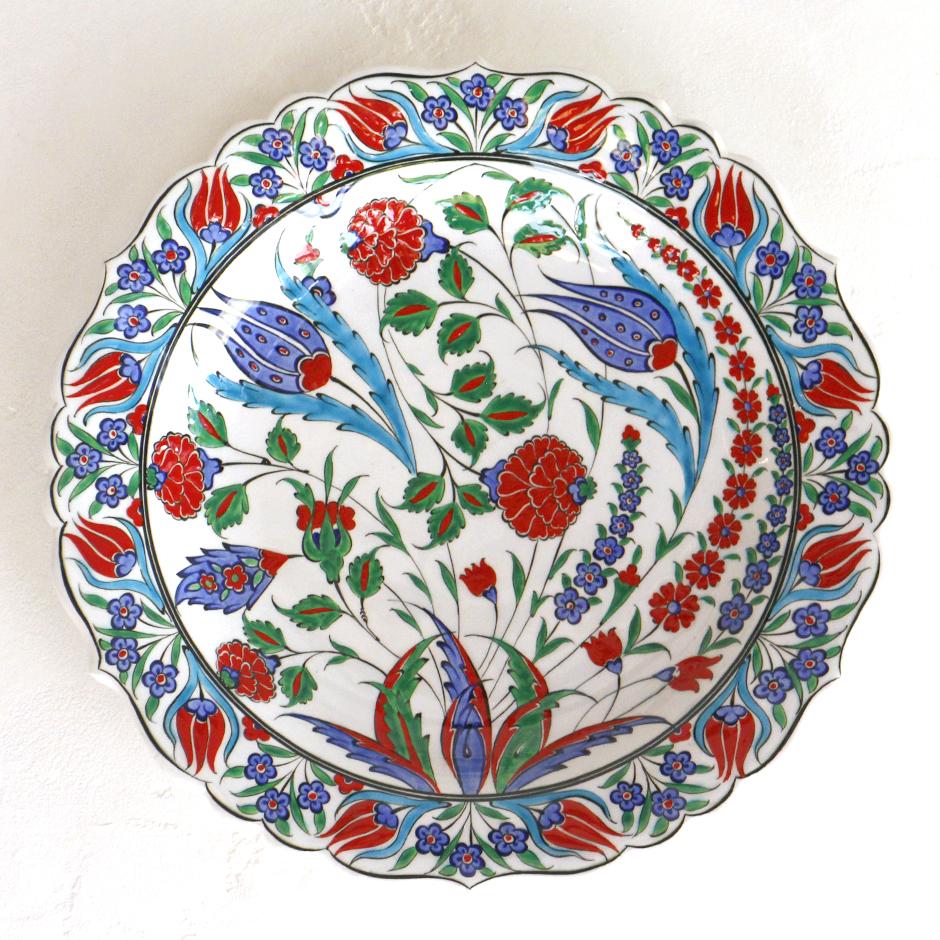 トルコ・手書き絵皿 キュタフヤ陶器 プレート30cmオットマンクラシック・青いチューリップ