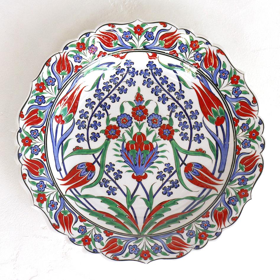 トルコ・手書き絵皿 キュタフヤ陶器 プレート30cmバラと青いヒヤシンス