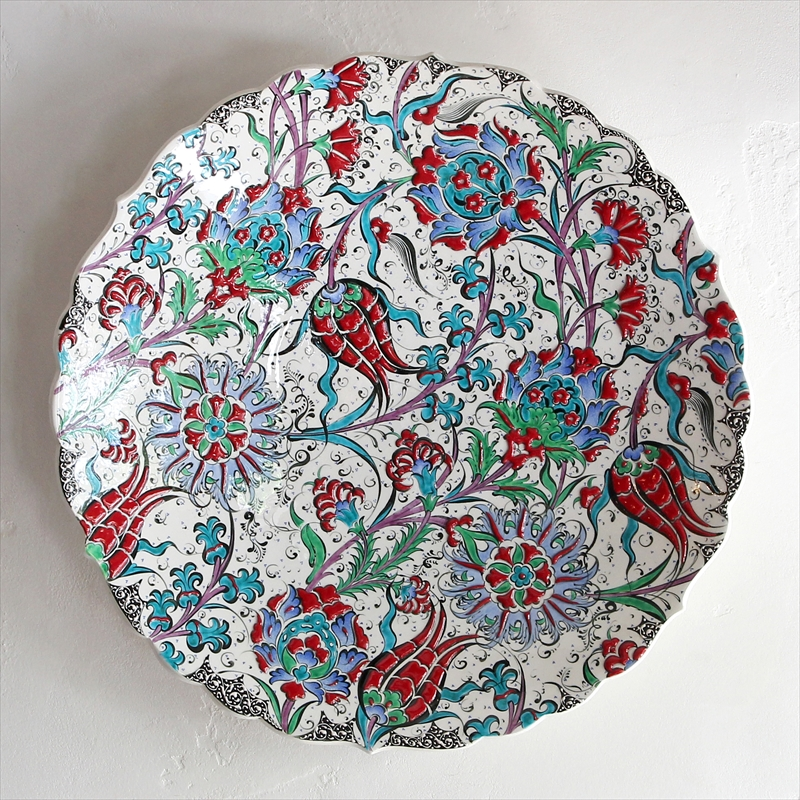 トルコ・キュターヤ陶器45cmプレート手描き絵皿立体釉薬・オットマンクラシック赤いチューリップ