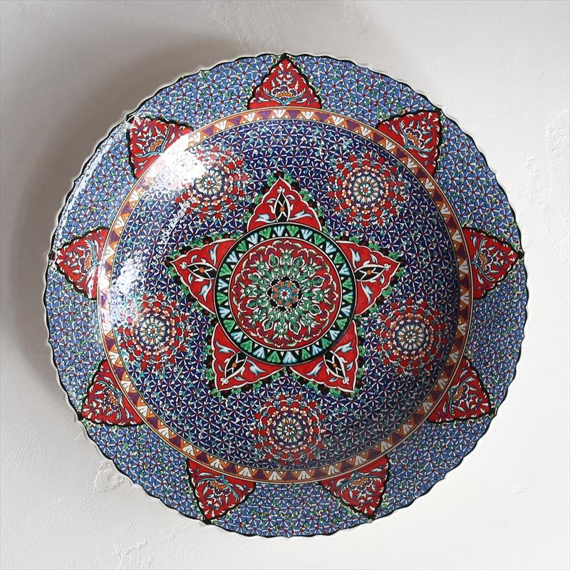 飾り皿・プレート40cm/トルコ・キュタフヤ陶器緻密に描かれた花・レッド&ネイビーブルー