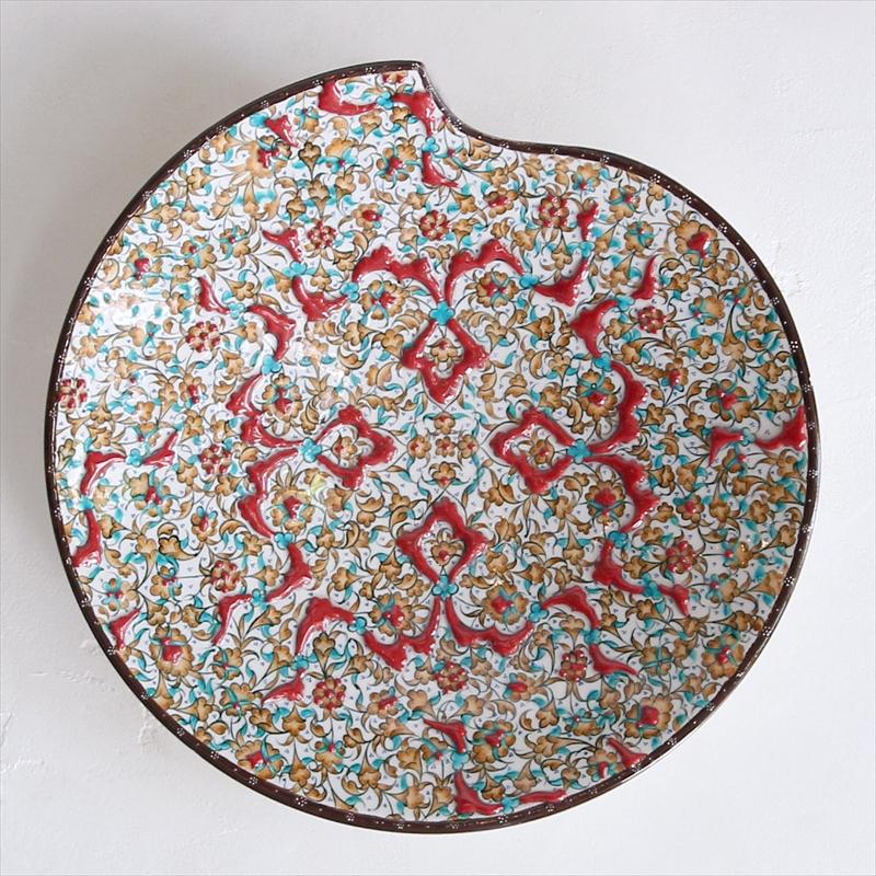 プレート30cm 変形丸皿 トルコ・キュターヤ陶器・手描き絵皿立体釉で描かれた小花のアラベスク