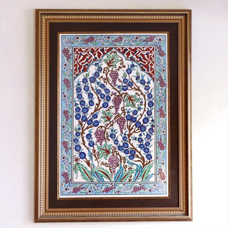 トルコタイル 6枚額 キュタフヤ/手書き陶器プラムの花と葡萄・ミフラープ