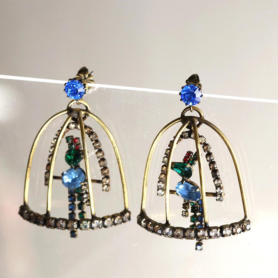 Michel's Vintage Beads Pierced Earringヴィンテージビーズピアス・バードゲージ