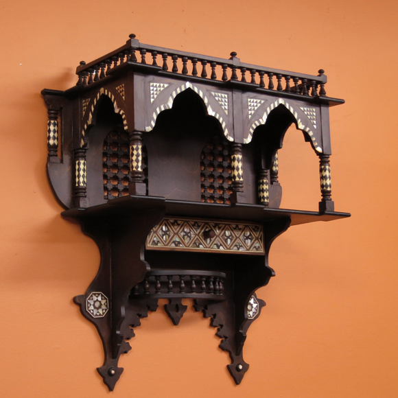 MotherofPearlエジプト螺鈿の工芸木製家具・壁掛け飾り棚シェルフ・マシャラビアW54×H56×D22cm