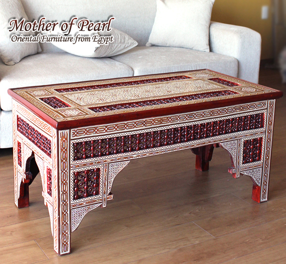 螺鈿家具 Mother of Pearl エジプト螺鈿の工芸家具ローテーブル・マシャラビア・エジプト製イスラミックな幾何学デザインのテーブル