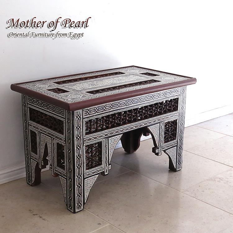 螺鈿家具 Mother of Pearl エジプト螺鈿の工芸家具 ローテーブル・マシャラビア・Mサイズ エジプト製イスラミックな幾何学デザインのテーブル