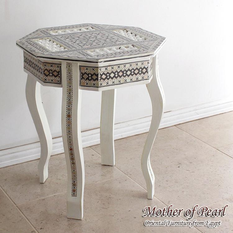 螺鈿家具 Mother of Pearl エジプト螺鈿の工芸家具・サイドテーブル・ホワイト・スクエア・組み立て式・エジプト製イスラミックな幾何学デザインのテーブル【送料無料】