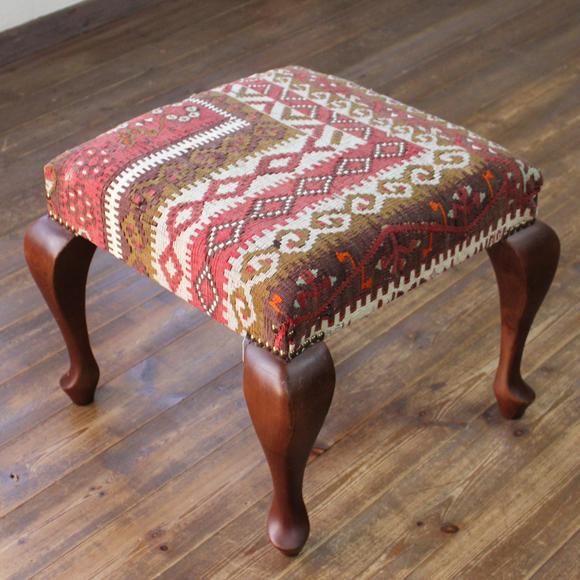 オールドキリムの木製家具ロースツール・スクエア・50cm×50cm