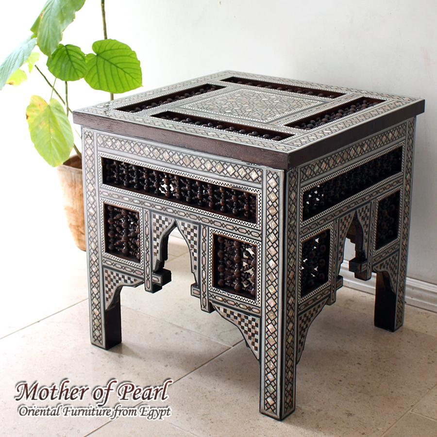 螺鈿家具 Mother of Pearl エジプト螺鈿の工芸家具・スクエアテーブル