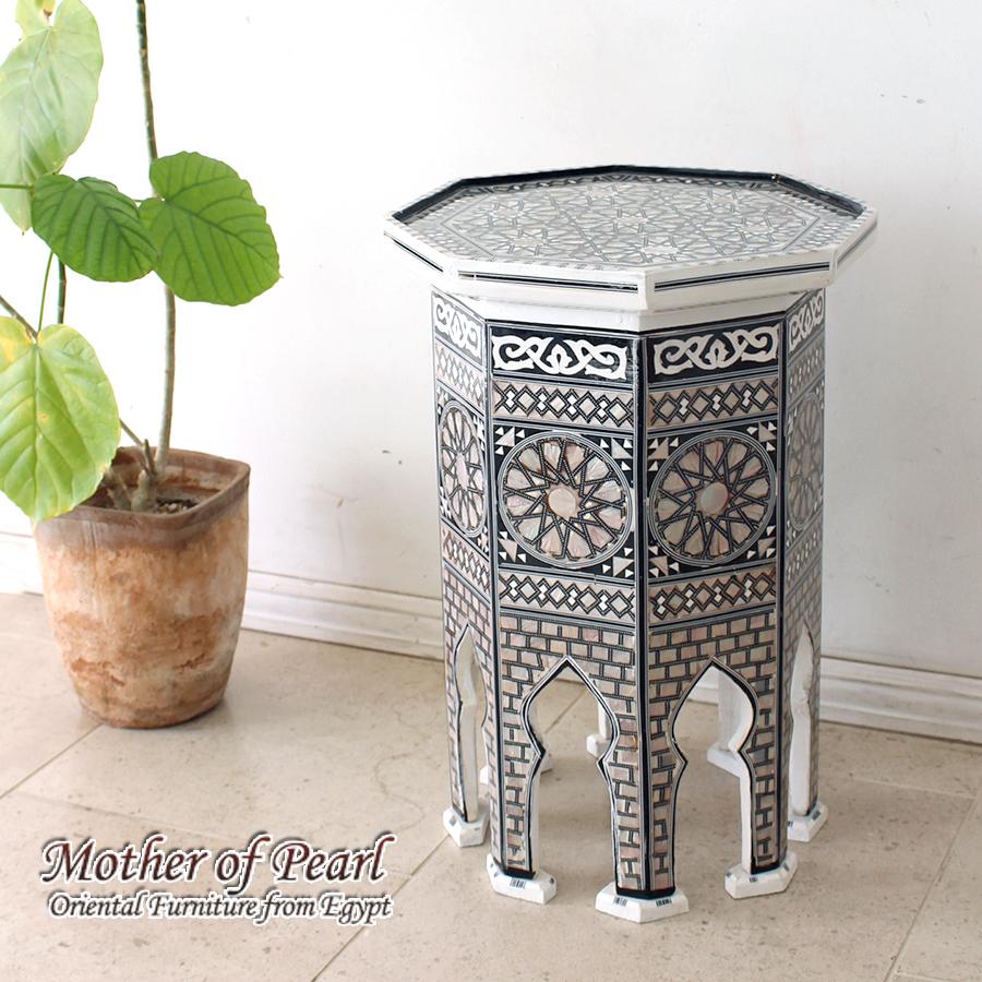 螺鈿家具 Mother of Pearl エジプト螺鈿の工芸家具・サイドテーブル・オクタゴン・Mサイズ・ホワイト・エジプト製