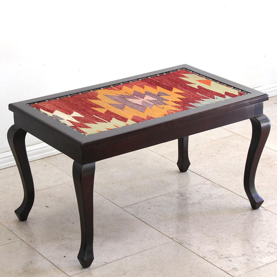 オールドキリム木製家具・ローテーブル・ガラス天板付・Kilim low table