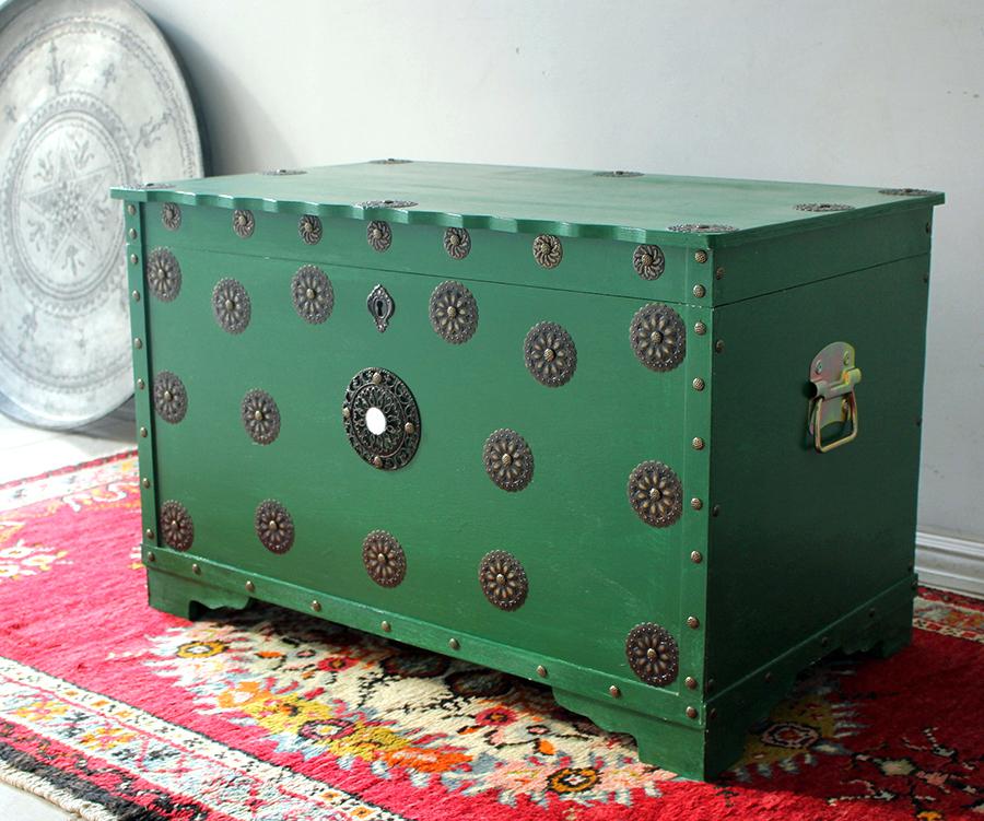アンティークスタイル・トルコの宝箱サンドゥック・グリーン W78×H49×D46.5cm