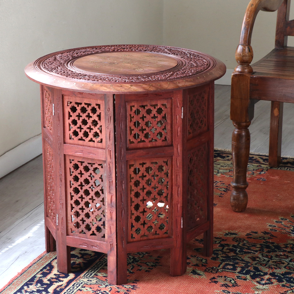 木彫りの木製テーブルラウンド・シーシャムウッドテーブル・折りたたみ式 Lサイズ Seasham Wood Table Lsize 直径54cm×高さ54cm