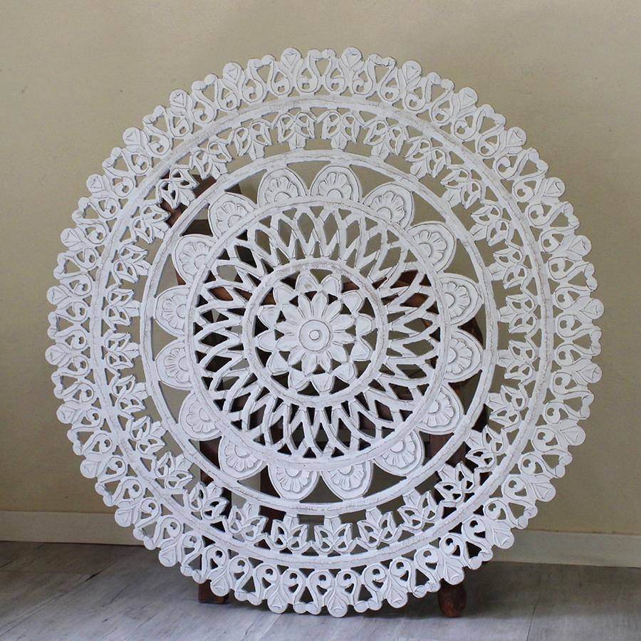 木彫り木製パネルラウンド直径105cm・アラベスクデザインレリーフ・グレー/wood carving arabesque design gray
