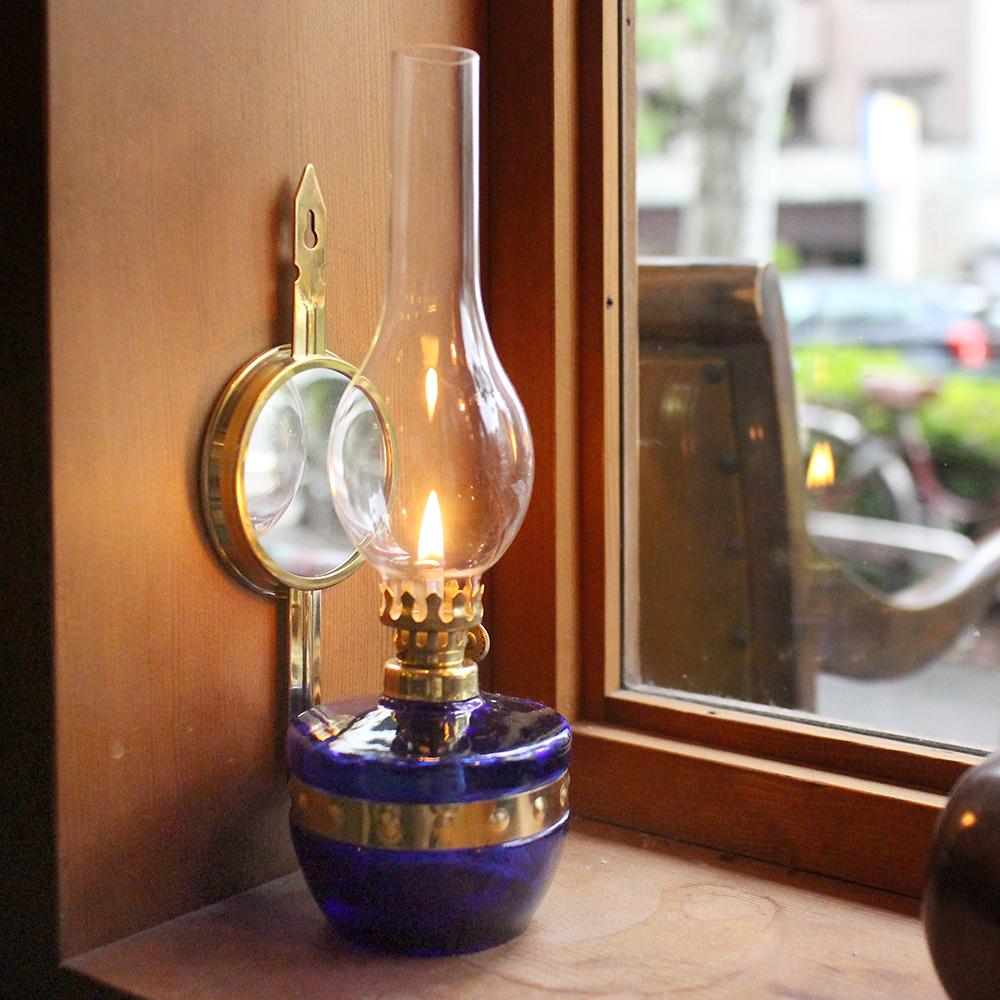 アンティークガラスオイルランプ・スタガー社(ポーランド)レインボーオイル300ml付セット/高さ25cm反射鏡・コバルトブルー