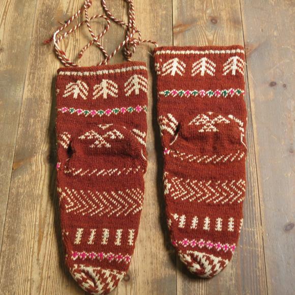 アンティーク・トルコ手編みウール靴下ライトブラウン/トルコ・伝統柄/24cm