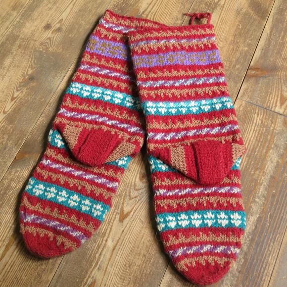 アンティーク・トルコ手編みウール靴下マルチカラー・レッド/カラフルボーダー/22cm