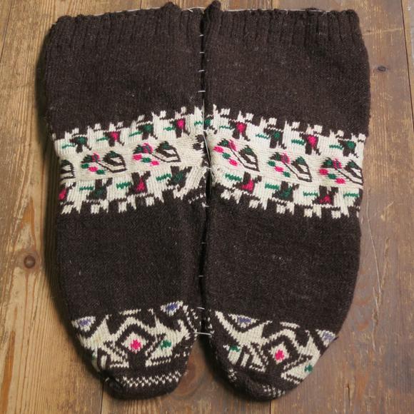 アンティーク・トルコ手編みウール靴下ブラウン/トルコ・伝統柄/25cm