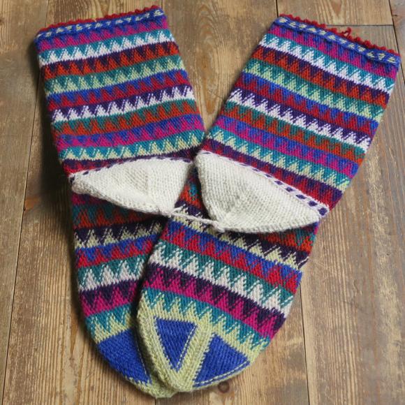 アンティーク・トルコ手編みウール靴下マルチカラー・ブルー/カラフルなジグザグボーダー/23cm