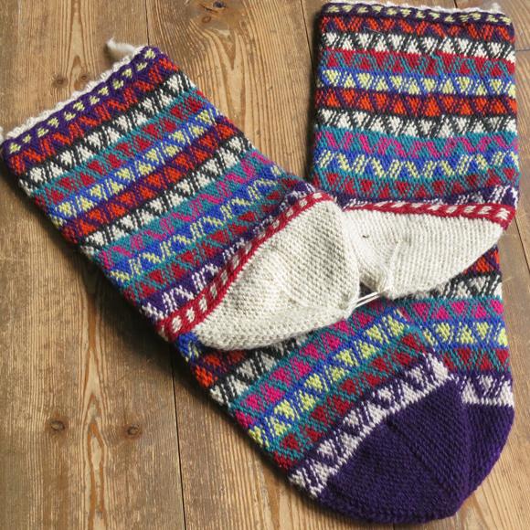 アンティーク・トルコ手編みウール靴下マルチカラー・パープル/カラフルなジグザグボーダー/24cm