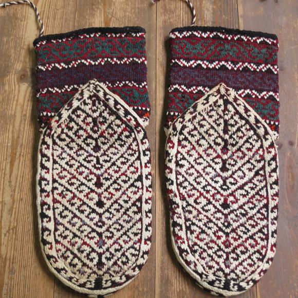 アンティーク・手編みウール靴下/バクティアリ族ココアブラウン&アイボリー/伝統柄/25cm