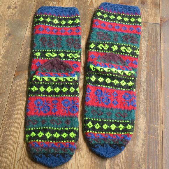 アンティーク・トルコ手編みウール靴下マルチカラー・レッド&グリーン/小花柄・カラフルボーダー/24cm