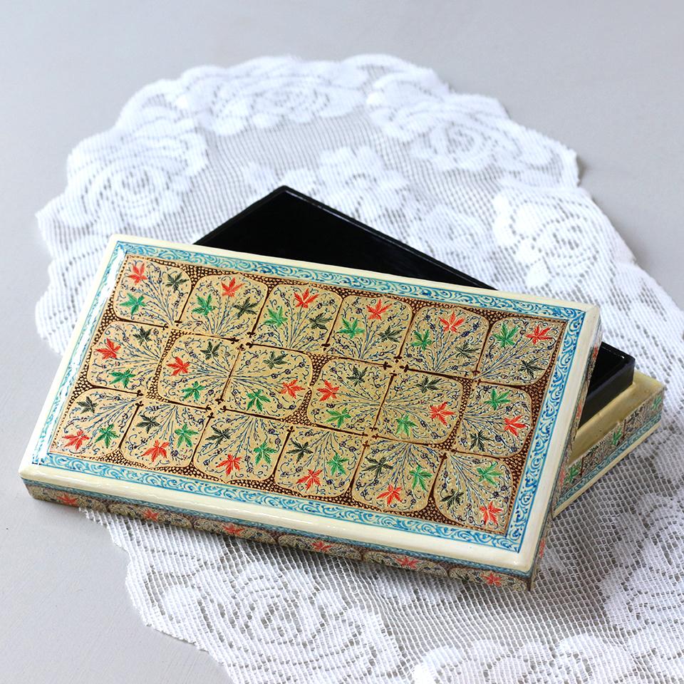 パピエ・マシェ Papier-Mache インド・カシミールの張り子工芸・フラワーデザイン・小物入れ ふた付き