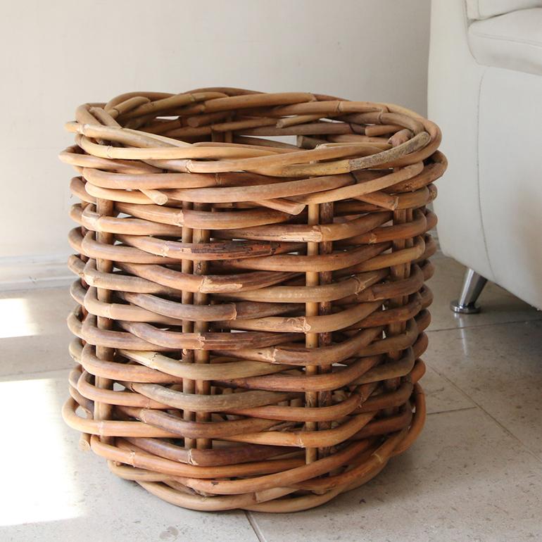 ラタン・バスケット/鉢カバー10号 プランターカバー太めのラタンで編んだ籐かご・ナチュラルカラー