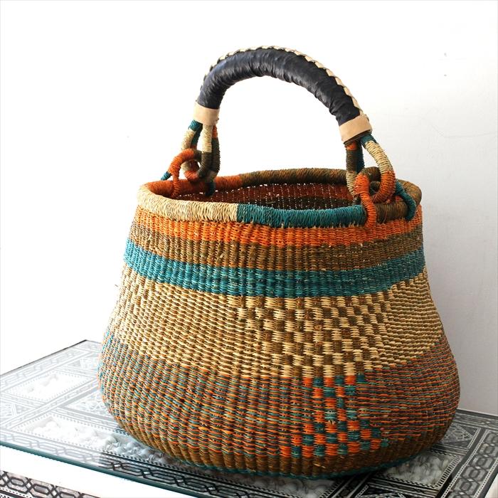 かごバスケット・ポットバスケットLサイズ・レザー・アフリカ・ガーナ・ボルガバスケット・Pot Basket L size