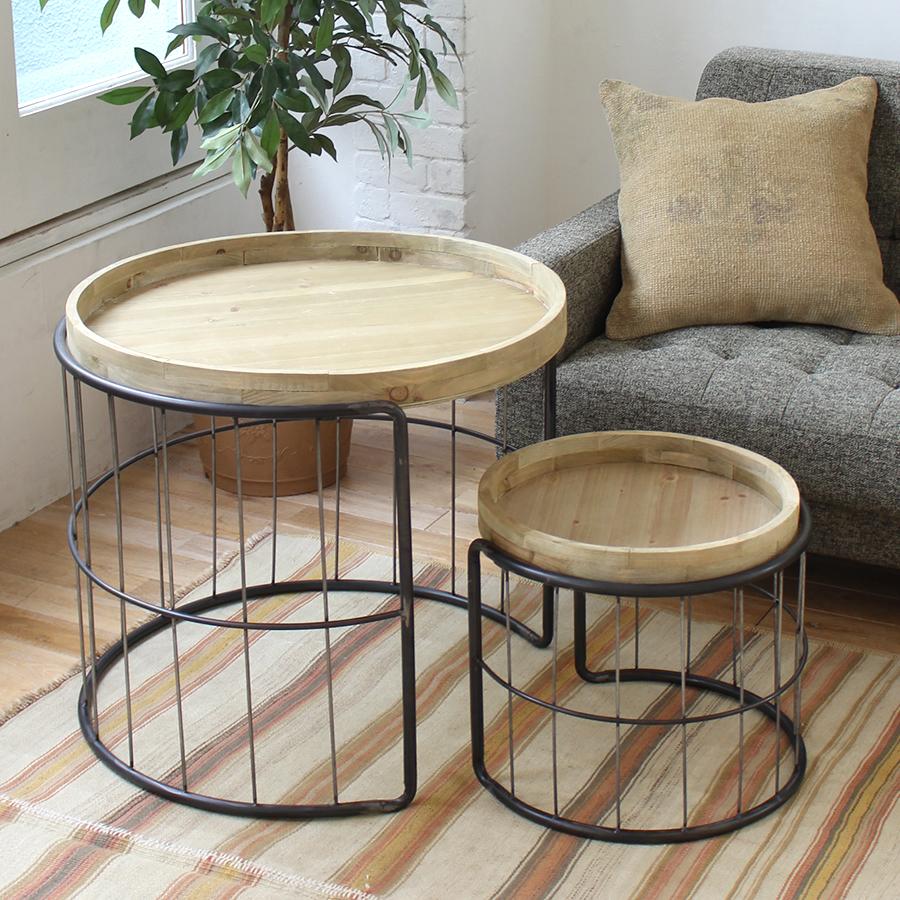 サイドテーブル・ラウンド・木製 2点セット side table 69&43.5cm YORITO metal black&wood/S&L Set