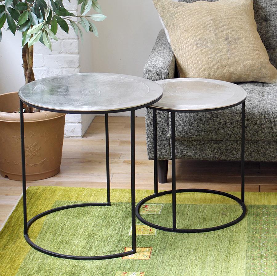 サイドテーブル・ラウンドシルバー・2点セット side table  41.5&49cm TALCA metal silver /S&L Set