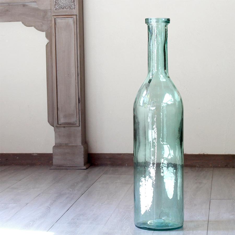 リサイクルガラスボトル・オブジェ・フラワーベース・ライトグリーン・H75cmGlass Bottle ZAMORA light green LL size