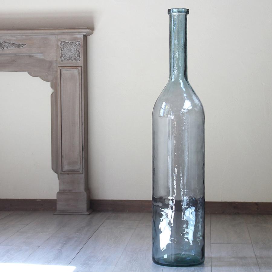 リサイクルガラスボトル・オブジェ・フラワーベース・ブルーグレイ・H100cmGlass Bottle GILENA light blue grey Extra Large