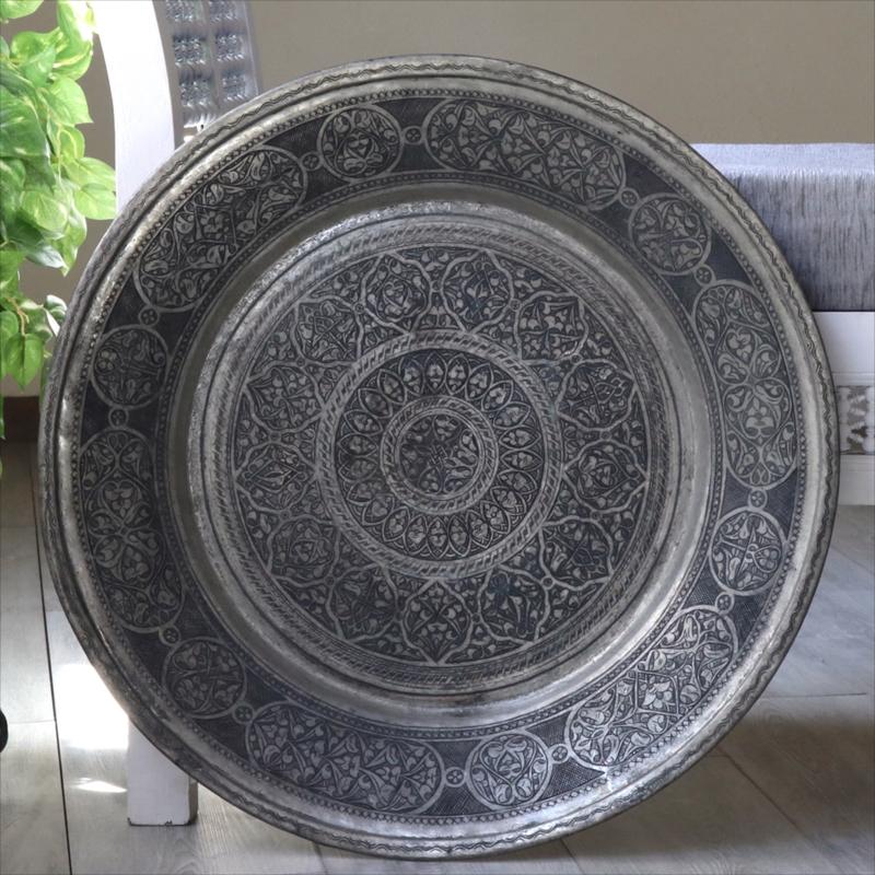 アンティーク・アナトリアの家具 銅製のトレイ・丸盆直径60cm/手作り・手彫りTurkish Nomadic round tray, Moroccan tray table, Hand made
