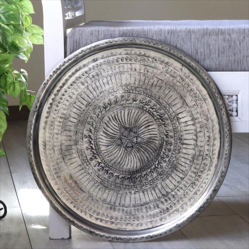 アナトリアの家具 銅製のトレイ・丸盆直径49cm/手作り・手彫りTurkish Nomadic round tray, Moroccan tray table, Hand made