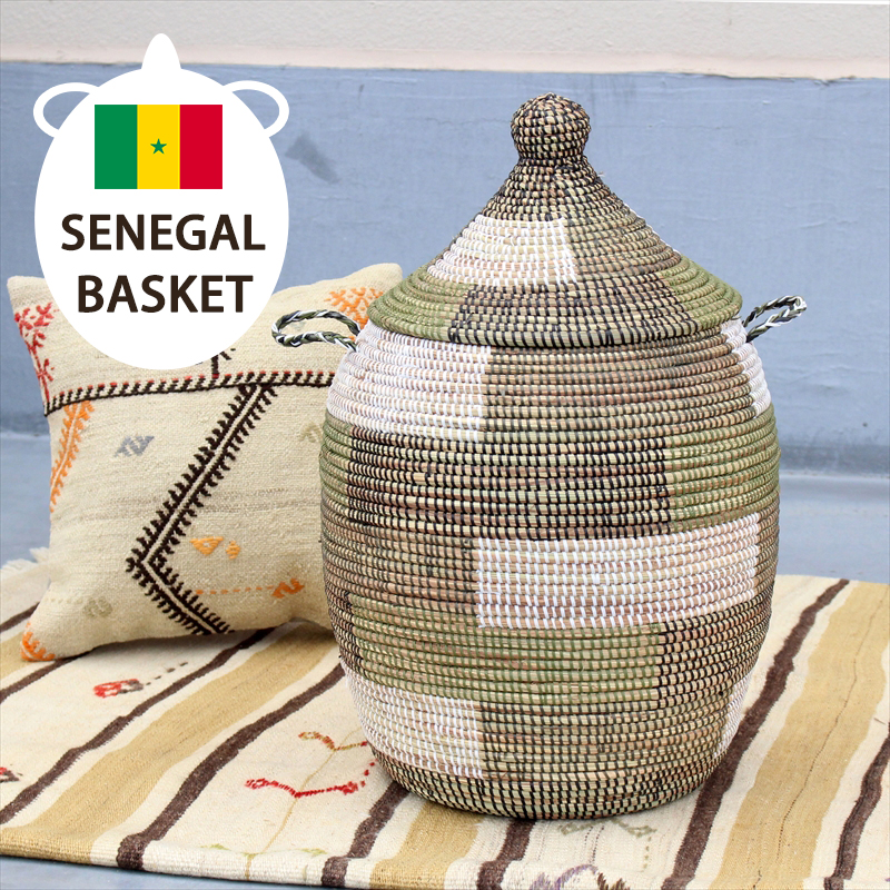アフリカのランドリーバスケット/セネガルバスケット高さ55cm/手編み/天然素材/水草/ふた・取っ手付きブロック柄カーキ