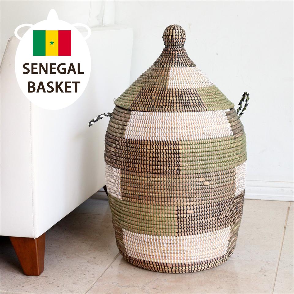 アフリカのランドリーバスケット/セネガルバスケット高さ57cm/手編み/天然素材/水草/ふた・取っ手付きブロック柄グリーン・ブラック・ホワイト