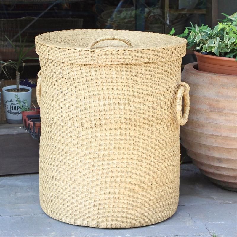 アフリカのランドリーふた付きバスケット 高さ55cm 筒型/特大サイズ/ボルガバスケット/水草/天然素材使用/