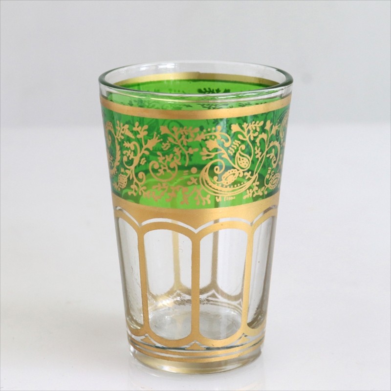 Morocco Tea glass モロッコのグラス ライトグリーン 新作販売 ゴールド モロッコ製 蔓とペイズリー 超特価SALE開催 Moroccan ミントティー traditional