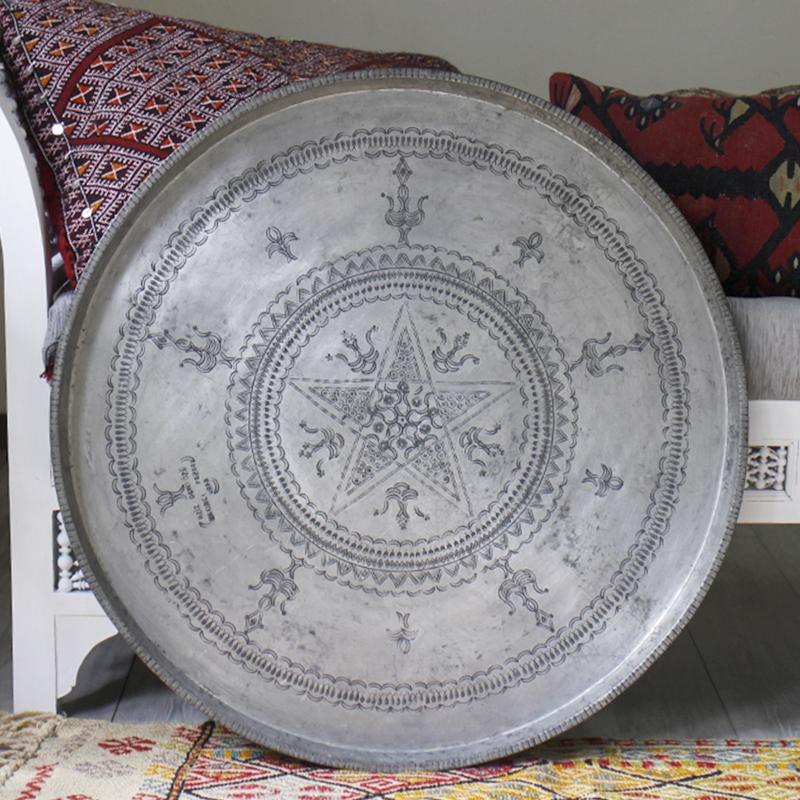 アンティーク・アナトリアの家具銅製の丸盆/直径78cm(脚は別売り)