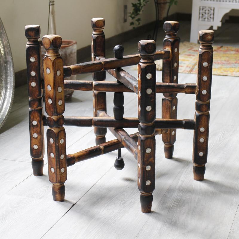 アナトリアの木製家具・折りたたみ脚台・直径47cm