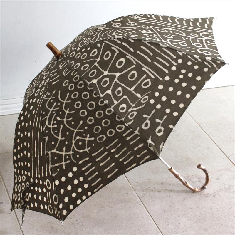 泥染め傘/チューリッップ/カメレオン/Bogoran Mari/晴雨兼用傘 アフリカ布使用 グリーン