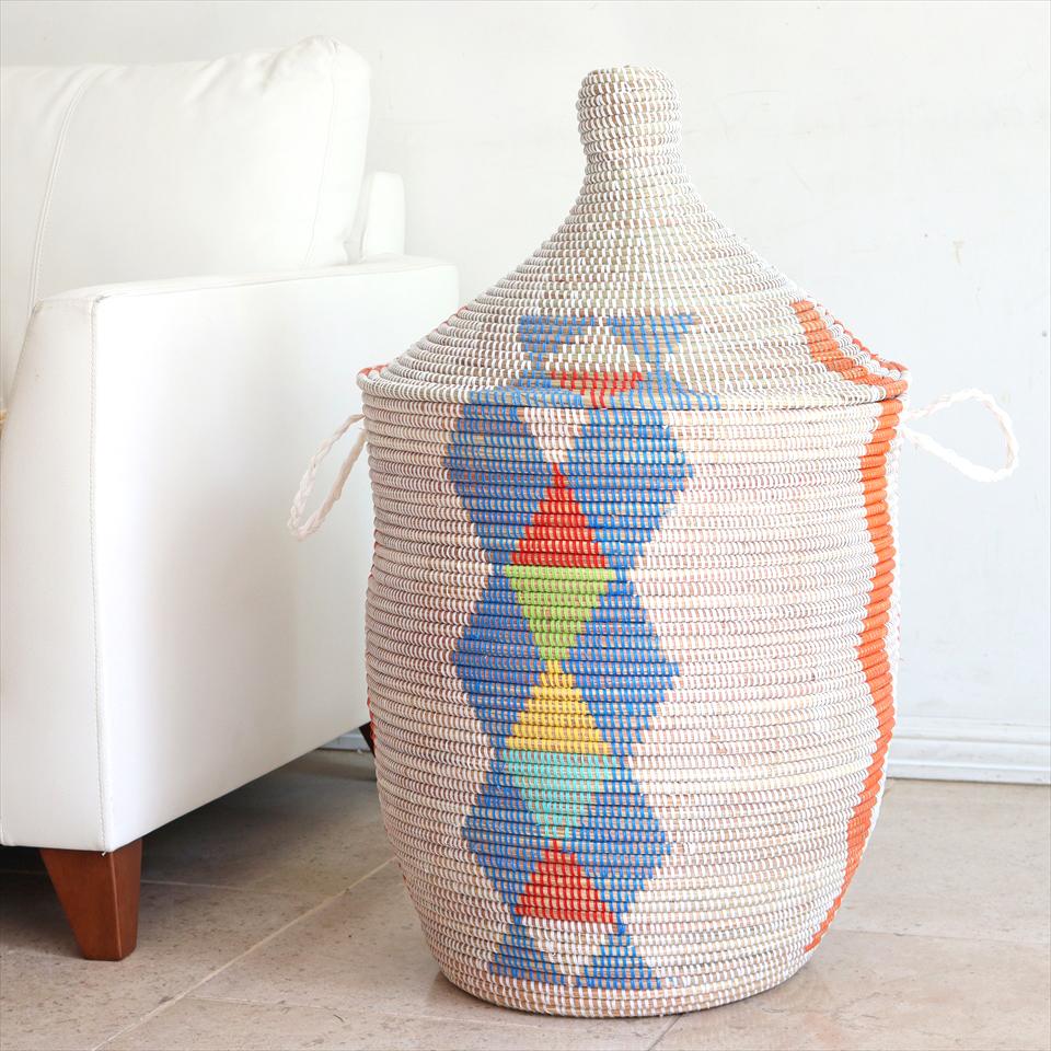 アフリカのランドリーバスケット 現品お届け/セネガル産高さ72cm直径43cm/手編み/天然素材/水草/蓋・取っ手付き