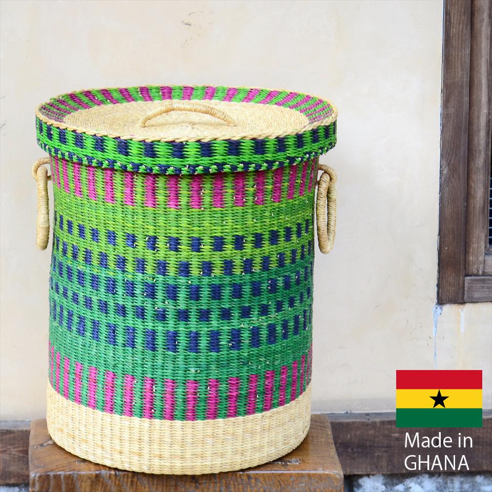アフリカのランドリーバスケット 収納かご ふた付き/大サイズ/グリーン・ピンク・ネイビー・ナチュラル/筒型/ボルガバスケット/水草/天然素材使用/現品販売