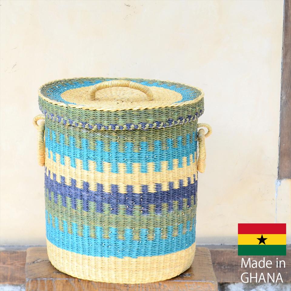 アフリカのランドリーバスケット 収納かご ふた付き/中サイズ/ブルー・ネイビー・ナチュラル/筒型/ボルガバスケット/水草/天然素材使用/現品販売
